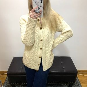 Arran more cableknit Irish wool cardigan sweater M